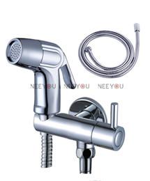 "Wholesale Toilet Bidet Free Shipping - Free Shipping Chrome Bidet spray gun Toilet flusher G1 2"" Brass Faucet + ABS Handle Strong pressure Sprayer Shower head + 150cm Hose"