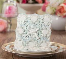 Wholesale Wedding Invitation Sky Blue - Sky Blue Wedding Invitations Hollow Lace Elegant Laser Cut Birthday Cards Blank Bridal Shower Invitations Marriage Cards