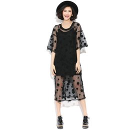 Wholesale Dress Children Fat - Large size women fat mm summer new Europe was thin and long sections loose openwork lace shirt dress child Fat M
