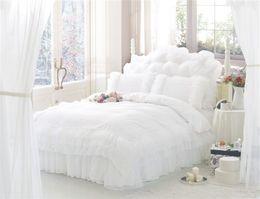 Корейские наборы для постельных принадлежностей онлайн-Оптовая торговля-корейский стиль Принцесса кружева постельные принадлежности наборы 100% хлопок королева King Size 4pcs постельное белье постельное белье пододеяльник