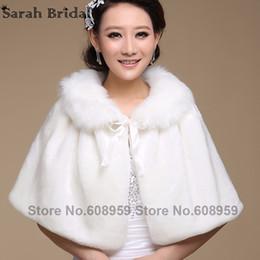 Wholesale Womens Shawl Coat - Wedding jacket wrap Shawl Cloak Cape Jacket Bridal Bolero Winter Wraps Coat Stole Faux Fur Fabric For Brides Womens 17015
