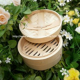 Wholesale Chicken Steamer - 16cm new bamboo steamers with lid cooking chicken steamer as seen on jamie oliver dim sum basket vaporera de bambu free shipping