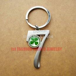 Wholesale Real Luck - Seven Shaped 7 Real Luck Clover Keychains,Very Four Leaf Lucky Key chain,2pcs Lot Good Luck Gift,Birthday Gift Free Shipping