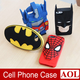 Wholesale Iphone 3d Cases Superheroes - 3D Cartoon case Transformers, Spiderman, Batman Superhero Silicone Case Cover For iPhone 6 6s plus 5 5S