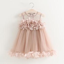 Wholesale coloured flower girl dresses - 2018 Summer New Baby Girls Kids Flower Lace Wedding Princess Party Vest Dress 2 Colour 5 Size