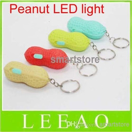 Wholesale Mini Flashing Led Keychain - 600pcs lot RA LED Cute Cute Led Simulate Peanut Lights Bright Mini Peanut Torch Flash light Keychain 1LED Flashlight Gift Free Shipping