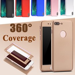 Wholesale Iphone Body Protector - 360 Degree Full Body Protective Slim Hard PC Full Cover Case With Tempered Glass Screen Protector For iPhone X 8 7 Plus Samsung Note 8 5