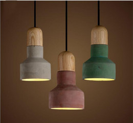 Luz pendant japonês on-line-Os recém-chegados estilo japonês Cimento Pendant Light Com 3 cores Abajur quentes Loft americanas Vintage Lâmpadas Campo Pingente