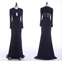Wholesale Miss Australia - Cheap Long Sleeve Evening Dresses See Through Spandex Floor Length Australia Formal Real Images Navy Blue Mermaid Party Gowns