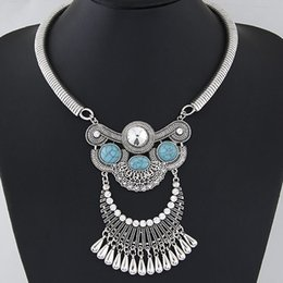 Wholesale Resin Chunky Pendants - 2016 Chunky Necklace Women Water Drop Necklaces & Pendants Turquoise Rhinestone Directions Choker Statement Necklace Collier