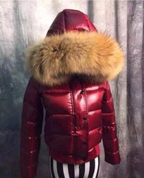 Wholesale Womens Real White Fur Coat - Womens Real Genuine Fur collar Parka Down Puffer Peacoat Hooded Padded coat Bright Shiny quilted jacket Slim Fit Snow Warm 4Colors