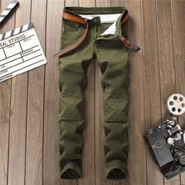 Wholesale Men Metrosexual - Retro Metrosexual Designer Mens Skinny Ripped Biker Jeans Multi Pockets Cargo Pant Army Green Mens Pleated Pencil Robin Jeans fear of god