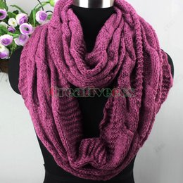 Wholesale Wholesale Endless Scarves - Wholesale-New Women Girl's Winter Warm Soft Thick Wool Knit Infinity 2-Loop Cowl Eternity Endless Circle Solid Color Scarf Wrap