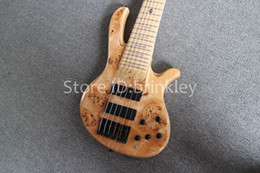 Wholesale Handmade Guitar Strings - brinkley New Arrival, Factory Custom 6 strings Handmade wood color Electric Bass guitar, Active Pickups bass, Gold hardware,Free shipping