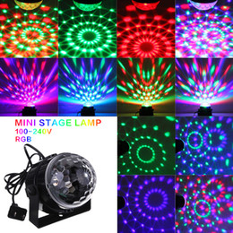Wholesale Rgb Color Light - Mini RGB LED Crystal Magic Ball Stage Effect Lighting Lamp Bulb Party Disco Club DJ Light Show