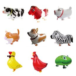 Wholesale Cartoon Pig Gift - 20PCS Animal Farm Walking Balloon Pets Cow Horse Pig duck Cat Chicken Frog Cat Dog Mix Birthday Gift party toy foil cartoon walking balloon
