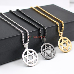 Wholesale Eastern Star Necklace - Hip-Hop jewelry With 2.4mm 24 inch box Chain Stainless Steel JEWISH star of David religion Pendant necklace 30mm size charms