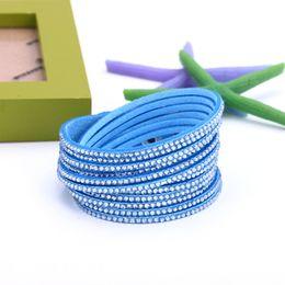 Deutschland Verkäufe Geschenke Mode Frauen Sechs Reihen Strass Schnur Armband Armband Hohe Qualität Pu Leder Bangles WB40 supplier leather twined bracelets Versorgung