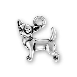 Wholesale Wholesale Tibetan Silver Dog Charms - Simple Design 17mm*16.7mm Tibetan Silver Plated Tiny Dog Chihuahua Charms Best gifts for Dog Lovers