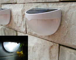 Wholesale Led Solar Lighting Wall - 2017 Fashion 6 LEDs Sensor Solar Powered Light Outdoor Lamp LED Wall Light Garden Lamp ABS+PC Cover Color Package Home Stair Waterproof Bulb