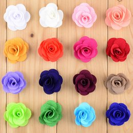 Wholesale Mini Flowers For Hair Clips - New Style 80pcs lot Dia.4CM Mini Hair Flower WITHOUT CLIP 16C In Stock Flat Back For Baby Girls Headband DIY Accessories