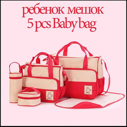 Wholesale Mom Bag Set - 7 Colors 5PCS Set High Quality Tote Baby Shoulder Diaper Bags Durable Nappy Bag Mummy Mother Baby Bag  baby bags for mom free shipping