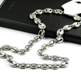 stainless steel coffee beans Promo Codes - wholesale price 10mm 20''-28'' 316L Stainless steel High Polished coffee beans Link Chain Necklace fashion men women jewlery silver tone