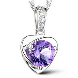 Wholesale Vintage Sterling Silver Amethyst Pendant - Fashion Lady Jewelry S925 sterling silver Amethyst crystal Love heart Necklace pendant upscale women's jewelry vintage silver jewelry