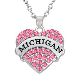 Wholesale Cheap Rhinestone Jewelry Color - Cheap Factory Price Rhodium plated Two Color Crystal Heart Pendant Initial MICHIGAN Necklaces Pendant Jewelry Making