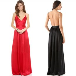 Wholesale Women S Sexy Evening Wear - Milk Silk Texture Long Dress Spaghetti Strap Backless Maxi Dress V neck sexy dresses to wear to a wedding evening party gown 2016