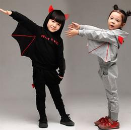 Wholesale Hooded Add Wool - Winter Korean Children Tracksuit Thikcen Add Wool Bat Hoodies + Pants 2pcs Kids Suit Halloween Baby Boy Girl Party Clothing Set WD308