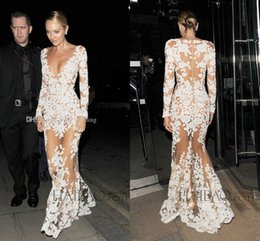 Wholesale Lace See Prom Dresses - Sexy Michael Costello Celebrity Evening Dresses 2017 Deep V Neck Long Sleeves Appliques Tulle See Through Illusion Nude White Prom Dresses