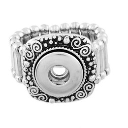 Wholesale Plant Base - 10pcs 2015 New Fashion square elastic Base Rings Fit Snap Press Buttons Silver Tone size 7.5 Free Shipping