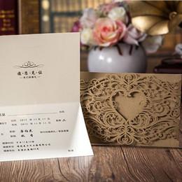 Wholesale Brown Wedding Invitation Cards - Laser Cut Flower Wedding Invitations 2015 Party Invitation Card Brown Convites De Casamento with envelope seal