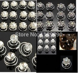 Wholesale Crystal Hair Pins Wholesale - Wedding Bridal Crystal Pearl Swirl Twist HairSpin Pins Women fashion Hair Clips Jewelry Accessories 50PCS Lot Drop Shipping Wholesale Retai1