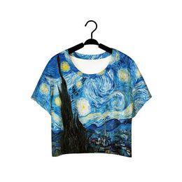 Wholesale Loose Galaxy Shirts Short Sleeve - Women loose short sleeve t shirt Van Gogh Starry night painting 3d t shirt galaxy tees tops kawaii short blouse crop top clothes