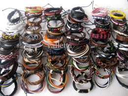 Wholesale Ethnic Tribal Bracelet - Free shipping Wholesale lots 30pcs Mixed Style Surfer Cuff Ethnic Tribal Leather Bracelets Fashion Gift