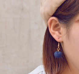 Wholesale Wholesale Mink Flowers - Fashion Cute Mink Fur Ball Earrings Pom Pom Drop Earrings for Women Girls Dangle Earrings Fashion Jewelry