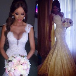 Discount vestidos wedding dress lace - 2014 Latest White Ivory vestidos de novia Brush Train Bridal Gown Lace Appliques Mermaid Wedding Dresses 2015 Customer Made