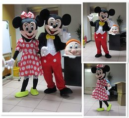 Wholesale Cartoons Characters Costumes - Wholesale - In-stock 2Pcs Couple Mickey & Minne Mouse Cartoon Mascot Costume school mascots character Men's costumes for guys fast ship