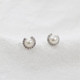 Wholesale Natural Zircon Earrings - Fashion New Brand Pearl Jewelry Natural Pearl Earrings For Women And Girls 100% Genuine925 Sterling Silver Micro Zircon Stud Earring Gift