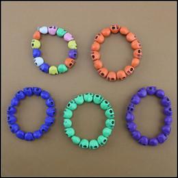 Wholesale Kid Stretch Bracelet Wholesale - Free shipping 2015 Fashion couple Skull bracelets boys girls cool Multicolor Stretch wristband wholesale MOQ:500pcs kids gift SVS0501#