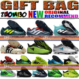 Wholesale Gold Indoor Soccer Shoes - High Top ACE 17.1 Purecontrol FG Football Boots Indoor X 17 16 Purechaos Soccer Shoes Messi Nemeziz Soccer Cleats Predator Mania Champagne