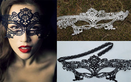 ladies face masks Coupons - Sexy Halloween Masquerade Lady Exquisite Lace Half Face Mask New Arrival Wedding Party Masks White  Black
