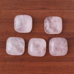 Wholesale Pink Rose Cabochon - 12mm Opal Rose Quartz Natural Stone beads Square Semi-precious Cabochon DIY Fashion Jewelry Making Accessories 30pcs