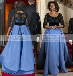 Wholesale Michelle Obama - Blue Michelle Obama Celebrity Dresses Arabic African Formal Dresses Evening Wear 2015 A Line 1 2 Long Sleeves Black Vintage Lace Prom Gowns