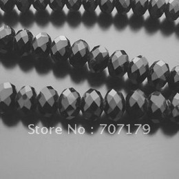 Wholesale Loose Crystal Beads Free Shipping - Wholesale-Free Shipping! Wholesale 5040 AAA Top Quality 8mm Black color loose Crystal Rondelle beads