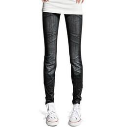 Wholesale Sexy Korean Leggings - 2pcs lot wholesale 2016 new korean fashion larger elastic black blue faux denim jeans leggings sexy fitness nine skinny jeggings leggins