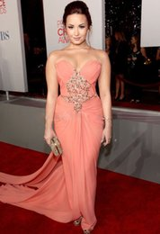 Wholesale Demi Lovato Red Carpet Dresses - Demi Lovato Sweetheart Strapless Ruffles Beaded A Line Pink Chiffon Prom Dresses Celebrity Red Carpet Sexy Long Gowns