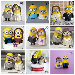 Wholesale Cake Toppers For Weddings Cheap - Fashion Yellow Cake Doll Cake Toppers Hand Made 2016 New Arrive Fashion Cheap Modest 8-9cm Height For Wedding Bridal Cake Topper Party Table